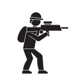 aiming soldier black concept icon aiming vector image