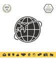 Airplane fly around the planet earth logo
