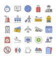 airport service color icons set vector image