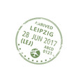 border control visa stamp arrived to leipzig vector image vector image