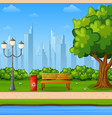 city park bench with green tree and scenery vector image