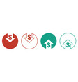 cost reduction icons for web design line style vector image vector image