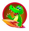 Crocodile surfer vector image