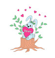 cute cartoon bunny sitting on the stump with vector image vector image