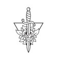 dagger and rose tattoo template traditional vector image vector image