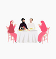 dinner muslim ramadhan iftar woman and man enjoy vector image vector image