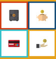 flat icon finance set of strongbox hand with coin vector image