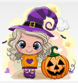 halloween card with girl in a hat witch on a vector image