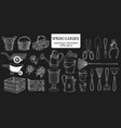 hand drawn set different gardening tools vector image