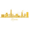 hanoi city skyline golden silhouette vector image vector image