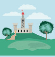 history castle in the landscape scene vector image