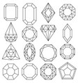 jewels set gems and diamonds outline design vector image vector image