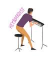 male keyboardist playing music creative hobor vector image vector image