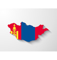 mongolia map with shadow effect vector image vector image
