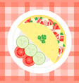 omelette with vegetables flat design vector image vector image