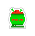 paper sticker on background of potion cauldron vector image