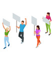 protest isometric people with placard and vector image vector image