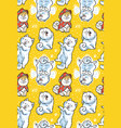 seamless pattern with cartoon funny samoyed dogs vector image vector image