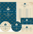 set of design elements for seafood restaurant vector image