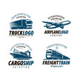 shipping transportation logo or label cargo vector image vector image