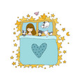 sleeping girl and cat in bed good night vector image vector image