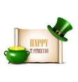 StPatrick Day background with scroll paper vector image vector image
