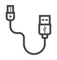 usb cable line icon connector and charger vector image vector image