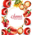 vegetables watercolor poster delicious tomatoes vector image vector image