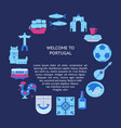 welcome to portugal round concept with icons in vector image vector image
