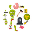 zombie icons set in flat style vector image vector image