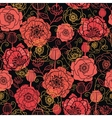 Red and black poppy flowers seamless pattern vector image