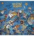 Doodles marine nautical border vector image