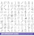 100 operation icons set outline style vector image vector image