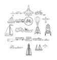 air transport icons set outline style vector image vector image