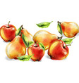 apple pear and peach watercolor set colorful vector image vector image