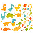 big set cute and cool hand drawn dinos vector image vector image