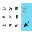 building icons set with bulldozer tools vector image vector image