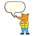 cartoon fox in shirt with speech bubble vector image vector image