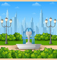city park background with fountain vector image