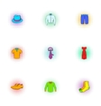Clothing icons set pop-art style vector image vector image