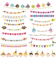 Colorful flags garlands set and kids vector image vector image