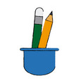 cup with writing utensils pen pencil in flat vector image vector image