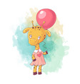cute cartoon giraffe girl in a dress with a vector image