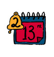 doodle calendar icon cartoon tear-off calendar vector image vector image
