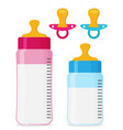 feeding bottles and baby pacifiers flat icon set vector image vector image
