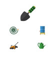 flat icon dacha set of lawn mower bailer vector image vector image