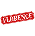 Florence red square grunge retro style sign vector image vector image