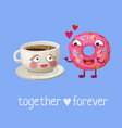 funny food characters cup coffee and pink donut vector image vector image