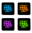 glowing neon solar energy panel icon isolated on vector image vector image