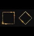 golden frame gold glitter light particles square vector image